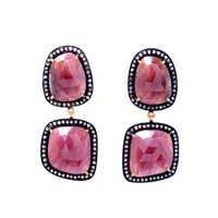 Diamond & Ruby Gemstone Victorian Earring