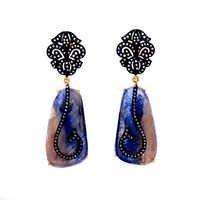 Diamond & Multi Sapphire Gemstone Victorian Earring