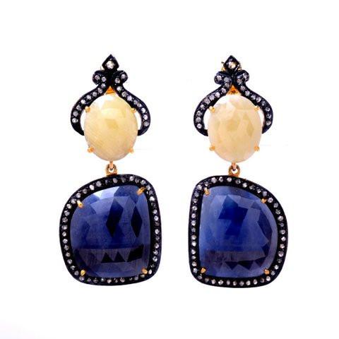 Diamond & Sapphire Gemstone Victorian Earring