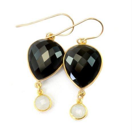 Black onyx & Rainbow Moonstone Gemstone Earring