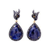 Blue Sapphire & Diamond Gemstone Victorian Earring