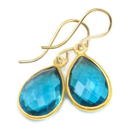 Blue Topaz Gemstone Earring
