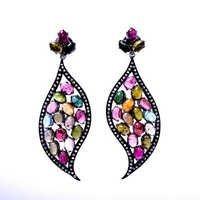 Tourmaline & Zirconia Gemstone Victorian Earring