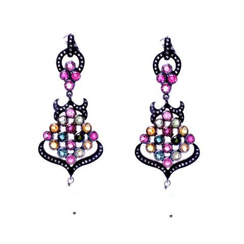 Tourmaline / Zirconia Gemstone Victorian Earring