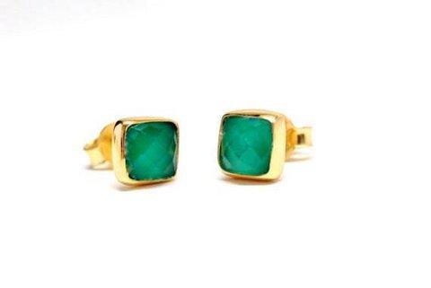 Green Onyx Gemstone  Studs