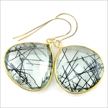 Black Rutile Gemstone Earring