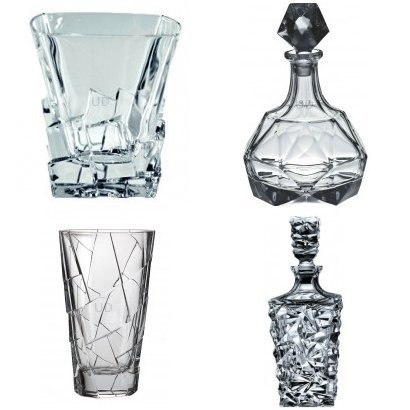 Crack Glass Set with Decanter