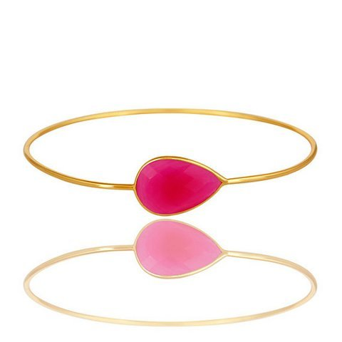Fuchsia Chalcedony Gemstone Bangle