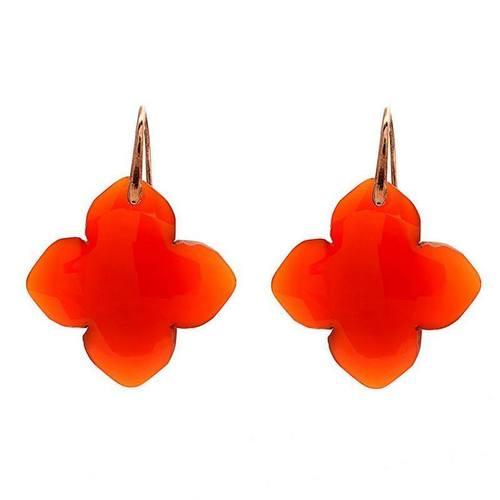 Orange Chalcedony Gemstone Earring