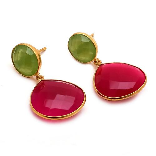 Fuchsia Chalcedony & Sea Green Chalcedony  Gemstone Earring