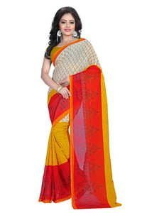 Beige and Orange Printed Leaves Design Saree