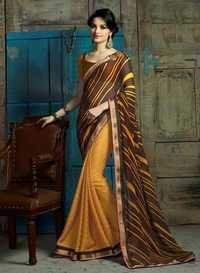 Fancy Brown and Yellow Women wear daily/Casual wear saree 503