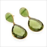 Green Amethyst & SeaGreen Chalcedony Gemstone Earr