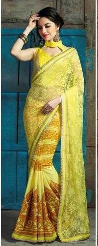 Fancy yellow daily wear printed saree 504