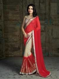Elegant red and cream casual wear office wear saree women arrival 508