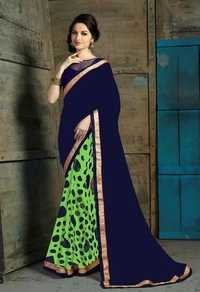 Indian latest ethnic Light green and blue casual saree 509