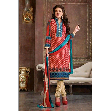 Wonderful Unstitched salwar kameez Red Casual suit 103A