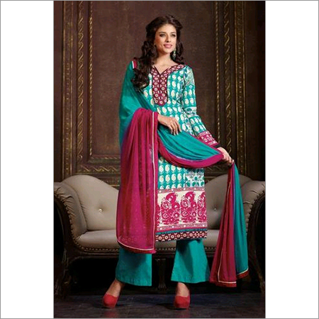 Latest Blue Printed and Embroidered salwar kameez 104A