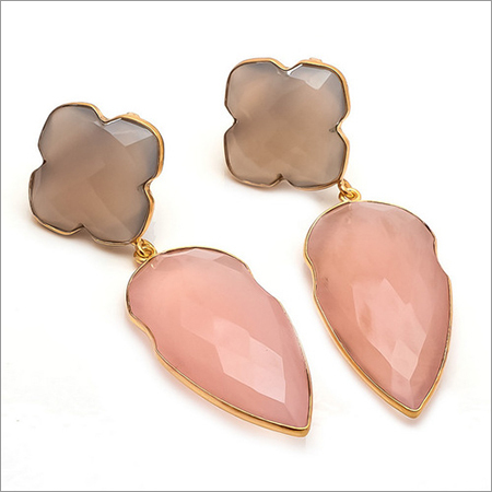 Pink Chalcedony & Gray Chalcedony Gemstone Earring