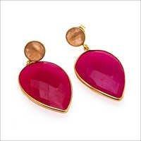 Fuchsia Chalcedony & Peach Chalcedony Gemstone Earring
