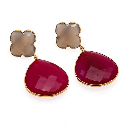 Fuchsia Chalcedony & Gray Chalcedony Gemstone Earring