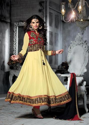 Elegant Cream Semi stitched Salwar kameez Women ethnic arrival 13007