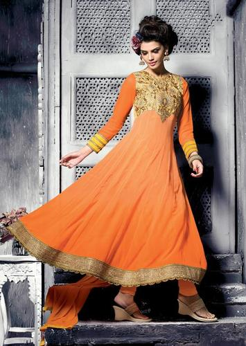 Beautiful Orange Party wear Long salwar kameez semi stitched suit 13008