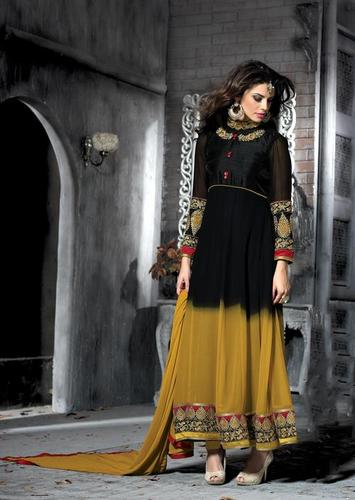 Wonderful Double color long floral anarkali party wear suit 13009