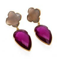 Pink Tourmaline & Gray Chalcedony Gemstone Earring