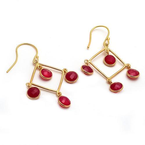 Dyed Ruby Gemstone Earring