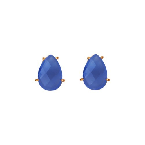 Blue Chalcedony Gemstone Studs