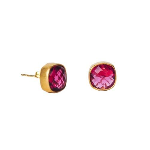 Pink Tourmaline Gemstone Studs