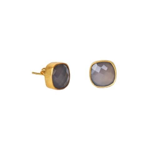 Gray Chalcedony Gemstone Studs