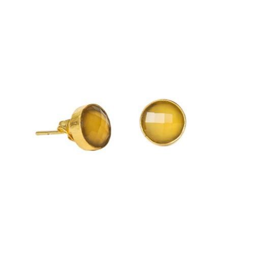 Yellow chalcedony Gemstone Stud