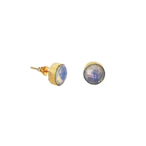 Rainbow Moonstone Gemstone Studs