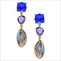 Labradorite & Amethyst & Blue Chalcedony Gemstone Earring