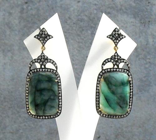 Emerald & Diamond Gemstone Victorian Earring
