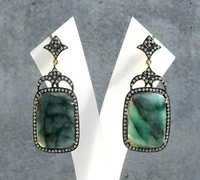 Emerald & Diamond Gemstone Victorian Earring