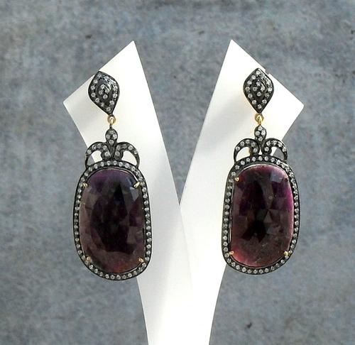 Ruby & Diamond Gemstone Victorian Earring