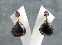 Ruby & Diamond Gemstone Victorian Earring