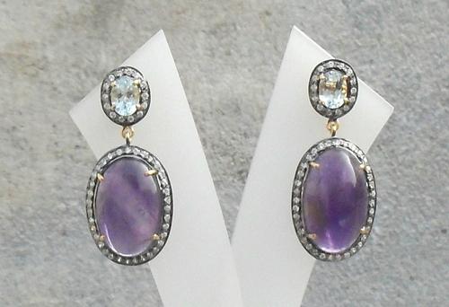 Amethyst, Blue Topaz & Diamond Gemstone Victorian Earring