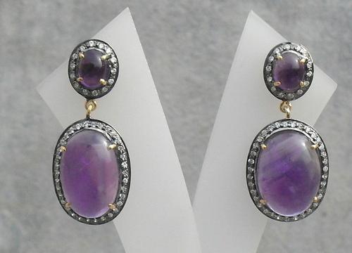 Amethyst & Diamond Gemstone Victorian Earring