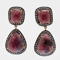 Ruby & Zirconia Gemstone Victorian Earring