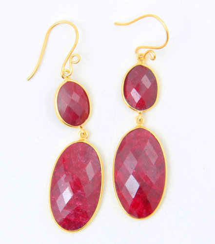Dyed Ruby Gemstone Earring