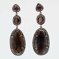 Sapphire, Smoky Topaz & Amethyst Gemstone Earring