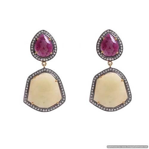 White Sapphire, Ruby & Diamond Gemstone Victorian Earring