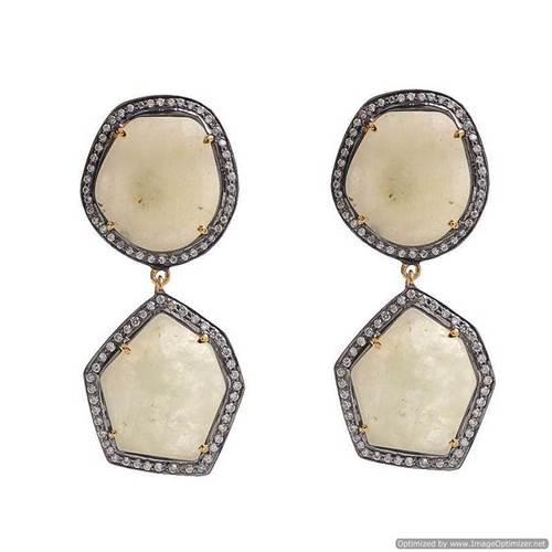 White Sapphire & Diamond Gemstone Earrings