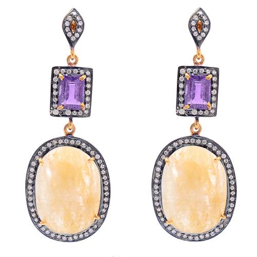 Yellow Sapphire/Amethyst &Diamond Gemstone Earring