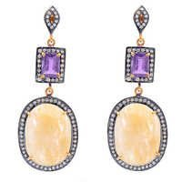 Yellow Sapphire/Amethyst &Diamond Gemstone Earring