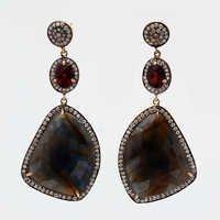 Sapphire,Garnet & Cz Gemstone Victorian Earring